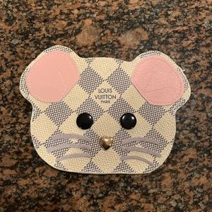 Custom Mouse damier azur flat card holder